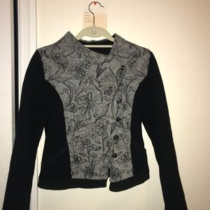 Anthropologie jacket black and grey floral XS
